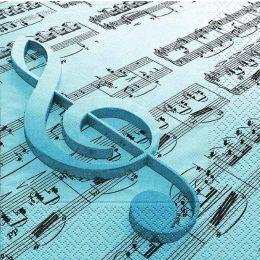 P + D Serviette, Music is the key, 3 lagig, 33x33cm, 1/4 Falz