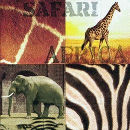 P + D Serviette, Africa safari, 3 lagig, 33x33cm, 1/4 Falz