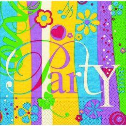 P+ D Serviette, Go out to party, 3 lagig, 33x33cm, 1/4 Falz