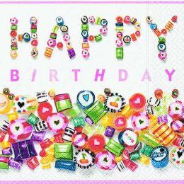 P+ D Serviette, Sweet Birthday, 3 lagig, 33x33cm, 1/4 Falz