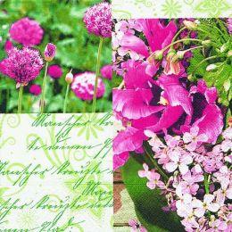 P+ D Serviette, Summer collage, 3 lagig, 33x33cm, 1/4 Falz