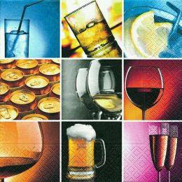 P+ D Serviette, Selection of drinks, 3 lagig, 33x33cm, 1/4 Falz