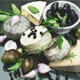 P+ D Serviette, Le fromage, 3 lagig, 33x33cm, 1/4 Falz