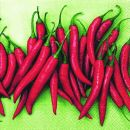 P+ D Serviette, Hot-hot-hot, 3 lagig, 33x33cm, 1/4 Falz