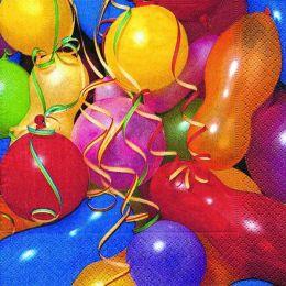 P+ D Serviette, Colourful ballloons, 3 lagig, 33x33cm, 1/4 Falz