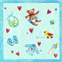 P + D Serviette, Moments Baby´s world blue, 3 lagig, 33x33cm, 1/4 Falz